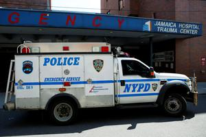 A NYPD truck arrives at the Jamaica Hospital, where New York City plainclothes police officer Brian Moore who was shot in the head is being treated, in New York May 3, 2015. REUTERS/Eduardo Munoz