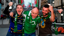 Ireland supporters, from left, Alan Ryan, Declan Doogan and Benny Guinan, all from Laois, pictured in Cardiff ahead of the Six Nations match between Ireland and Wales at the Principality Stadium in Wales. Photo by Stephen McCarthy/Sportsfile