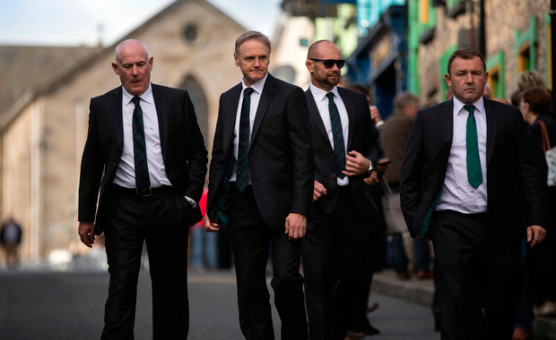 Ireland coach Joe Schmidt with Michael Kearney, Greg Feek and Richie Murphy Picture: Mark Condren