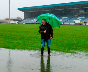 Leinster GAA secretary Michael Reynolds during an inspection at O'Moore Park yesterday   Photo: Sportsfile
