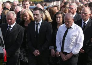 David Shortall, centre, with beard, at the funeral of his mother, Anne Shortall at St Josephs Church in Rathnew. Picture credit; Damien Eagers