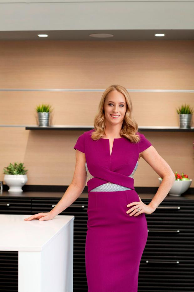'Fit Foodie': Derval O'Rourke wears: Purple cap sleeve dress, €1,670, Roland Mouret, available exclusively at Costume, Dublin. Photo: Naomi Gaffey