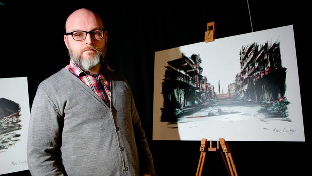 Wicklow artist Marc Corrigan who illustrated the report prior to the launch of Concern Worldwide 'Shattered Lives' report on the 6th anniversary of the Syrian crisis. Photo: Chris Bellew