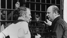 Bishop Casey visiting Fr Niall O'Brian and other prisoners in Bacolod prison in the Philippines in 1984.