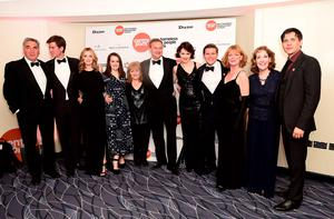 The cast of Downton Abbey (left - right) Jim Carter, Matt Barber, laura Carmichael, Sophie McShera, Lesley Nicol, Hugh Bonneville, Elizabeth McGovern, Allen Leech, Samantha Bond and Phyllis Logan arriving at the Downton Abbey Ball in aid of Centrepoint at the Savoy Hotell, London. PRESS ASSOCIATION Photo. Picture date: Thursday April 30, 2015. Photo credit should read: Ian West/PA Wire