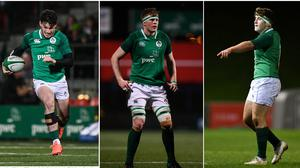 Andrew Smith (left), Sean O'Brien (centre) and John McKee (right) are among the seven new additions to Leinster's academy.
