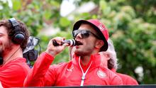 Arsenal's Jack Wilshere during their FA Cup victory parade through London