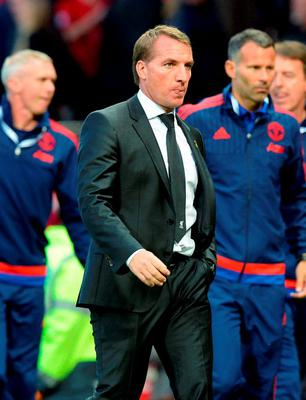 "Liverpool manager Brendan Rodgers after the Barclays Premier League match at Old Trafford, Manchester. PRESS ASSOCIATION Photo. Picture date: Saturday September 12, 2015. See PA story SOCCER Man Utd. Photo credit should read: Martin Rickett/PA Wire. EDITORIAL USE ONLY No use with unauthorised audio, video, data, fixture lists, club/league logos or ""live"" services. Online in-match use limited to 45 images, no video emulation. No use in betting, games or single club/league/player publications."