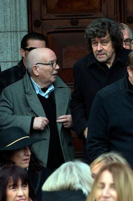 Film producer Noel Pearson and actor Stephen Rae at the funeral of former Pogues manager Frank Murray in St Paul's Church, Mount Argus. Photo: Tony Gavin