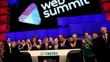 Taoiseach Enda Kenny speaks to the audience before ringing the Nasdaq bell on the centre stage at Web Summit 2014 at the RDS in Dublin. Photo: PA