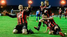8 May 2015; Jason Byrne, Bohemians, celebrates after scoring his side's second goal with team-mates Adam Evans and Lorcan Fitzgerald. SSE Airtricity League Premier Division, Bohemians v Limerick FC, Dalymount Park, Dublin Picture credit: David Maher / SPORTSFILE