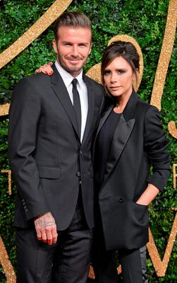 David Beckham and Victoria Beckham attend the British Fashion Awards 2015 at London Coliseum on November 23, 2015 in London, England.  (Photo by Anthony Harvey/Getty Images)