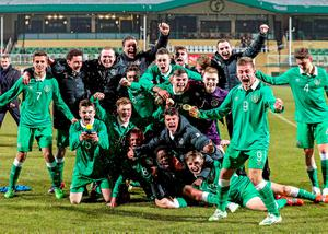 Ireland's Under 17s celebrate after securing their place in the European Chmapionships in Poland yesterday