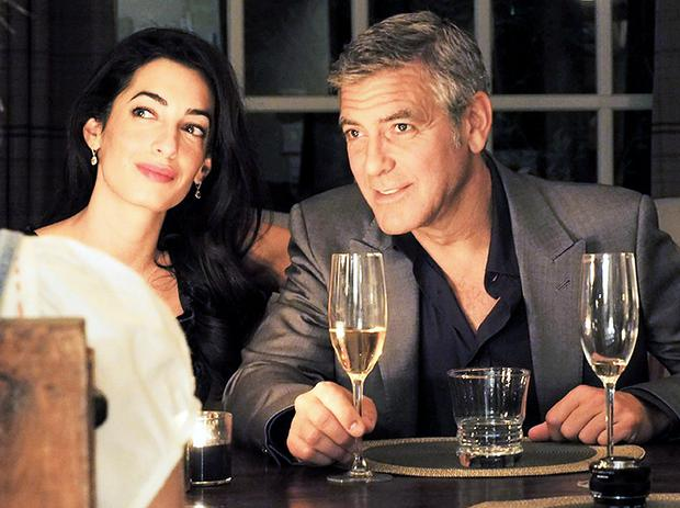 Amal pictured with her fiance George