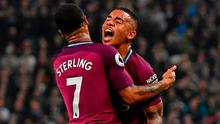 Manchester City's Raheem Sterling celebrates with Gabriel Jesus after scoring their third goal in last night's match at Wembley. Photo: Ben Stansall/AFP/Getty Images