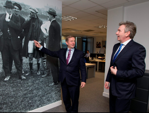 Enda Kenny with Stephen Rae in the production area of Independent House on Talbot Street, Dublin