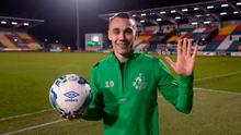 Graham Burke of Shamrock Rovers who scored five goals holds the match ball following the SSE Airtricity League Premier Division win over Cork City at Tallaght Stadium on February 21. Photo: Stephen McCarthy/Sportsfile