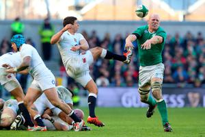 DUBLIN, IRELAND - MARCH 01:  Ben Youngs of England has his clearance kick charged down by Paul O'Connell of Ireland during the RBS Six Nations match between Ireland and England at the Aviva Stadium on March 1, 2015 in Dublin, Ireland.  (Photo by David Rogers/Getty Images)