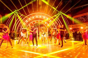 Giovanni Pernice with Georgia May Foote, Aliona Vilani with Jay McGuiness, Katie Derham with Anton Du Beke, and Kellie Bright with Kevin Clifton with during the final of UK's Strictly Come Dancing. Guy Levy/BBC/PA Wire