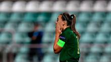 Katie McCabe of Ireland reacts after missing a penalty during the UEFA Women's EURO 2022 Qualifier match against Ukraine at the Obolon Arena in Kyiv, Ukraine. Photo by Stephen McCarthy/Sportsfile