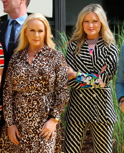 16/8/2018 RTE announce New Season Launch - Stripes or prints - who wore it best - Loraine Barry of Dancing with the Stars and Presenter, Laura Whitmore stand next to each other in clashing outfits at a photocall at Donnybrook in Dublin yesterday(Thurs).Pic: Collins