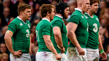 Ireland players, from left, Jordi Murphy, Eoin Reddan, Sean O'Brien, Paul O'Connell and Iain Henderson before the final scrum of the game