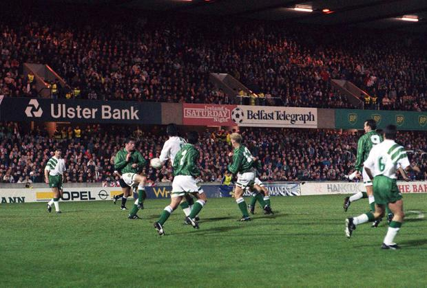 Alan McLoughlin scores for the Republic of Ireland in the Windsor Park cauldron of 1993. Photo: David Maher / SPORTSFILE