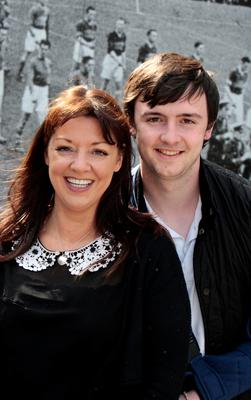 Ben Johnston from Hollywood,Co.Down who encouraged his mum Laura  ( who got through to the nex round) to audition for X Factor at Croke Park yesterday.Pic Tom Burke 8/4/2015