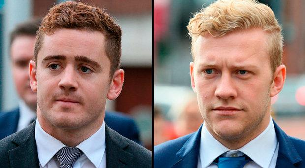 Ireland and Ulster rugby players Paddy Jackson and Stuart Olding arriving at Belfast's Laganside courts.