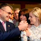 First-time TD Lisa Chambers, right, celebrating with her running mate Dara Calleary after they were both elected for Fianna Fáil in Mayo. Picture: Gerry Mooney