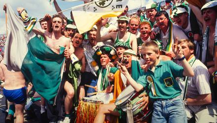 12 June 1988; A general view of Republic of Ireland supporters during the UEFA European Football Championship Finals Group B match between England and Republic of Ireland at Neckarstadion in Stuttgart, Germany. Photo by Ray McManus/Sportsfile