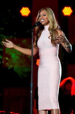 Actress Laverne Cox speaks on stage at the 2015 Global Citizen Festival to end extreme poverty by 2030 in Central Park on September 26, 2015 in New York City.  (Photo by Theo Wargo/Getty Images for Global Citizen)