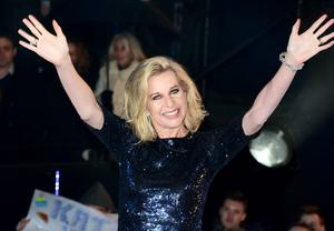 Katie Hopkins entering the Celebrity Big Brother house for the second time at the start of the latest series of the Channel 5 programme at Elstree Studios, Borehamwood. PRESS ASSOCIATION Photo. Picture date: Wednesday January 7, 2015. Photo credit should read: Ian West/PA Wire
