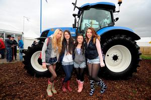 23 Sept 2014;  Emma Tracey, 16, Nicola O'Keeffe, 15, Ciara Hughes, 16, and Christina Tobin, 15, from Clonmel, Tipperary. National Ploughing Championships 2014. Ratheniska, Stradbally, Co. Laois. Picture: Caroline Quinn
