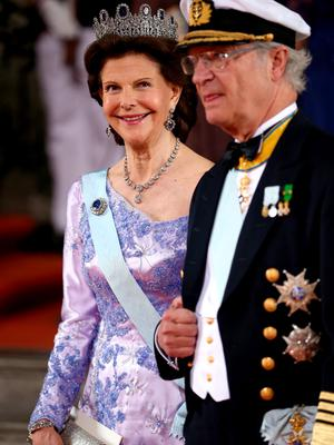 STOCKHOLM, SWEDEN - JUNE 13:  King Carl XVI Gustaf of Sweden and Queen Silvia of Sweden seen departing after marriage ceremony on June 13, 2015 in Stockholm, Sweden.  (Photo by Andreas Rentz/Getty Images)