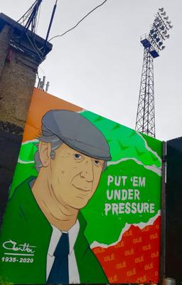 A mural of Jack Charlton painted by Niall O'Lochlainn on the exterior of Bohemian FC's Dalymount Park