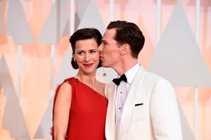Sophie Hunter, left, and Benedict Cumberbatch arrive at the Oscars on Sunday, Feb. 22, 2015, at the Dolby Theatre in Los Angeles. (Photo by Jordan Strauss/Invision/AP)