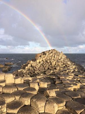 "The Giants' Causeway, Co. Antrim ""with a lucky double rainbow over the wishing chair"". Phot by Caroline Burgess, via Facebook."