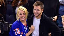 Margot Robbie and Tom Ackerley attend the Arizona Coyotes vs New York Rangers game at Madison Square Garden on February 26, 2015 in New York City.  (Photo by James Devaney/GC Images)