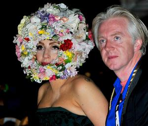 Philip Treacy with Lady Gaga at  London Fashion Week Spring/Summer 2013