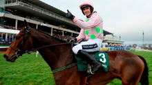 Ruby Walsh celebrates on Long Dog after winning the Paddy Power Future Champions Novice Hurdle at Leopardstown. Picture credit: Cody Glenn / ICC / SPORTSFILE