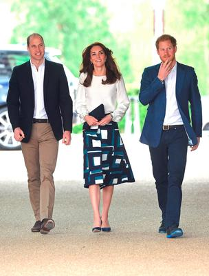 Prince William, Duke of Cambridge, Catherine, Duchess of Cambridge and Prince Harry arrive to attend the launch of Heads Together Campaign at Olympic Park on May 16, 2016 in London, England.  (Photo by Stuart C. Wilson/Getty Images)