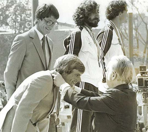David Wilkins receiving his 1980 Olympic Games silver medal from Irishman Lord Killanin, who was president of the International Olympic Committee