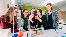 Student Aoibhínn O'Mahony, 1st year St Joseph's; Beckman Coulter Site Director Orlaith Lawler, Student Mollyjane Sweeney, 1st year St Joseph's; Ruth Hanley, Beckman Coulter R&D Scientist and St. Joseph's Science and Maths teacher Mairead O'Brien. Picture: Eamon Ward