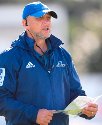 Blues skills coach Dave Ellis fine-tuning his plans during training at Alexandra Park. Photo: Sportsfile