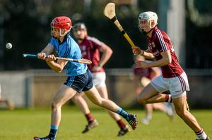 Niall McMorrow, Dublin, gets past Jason Flynn, Galway