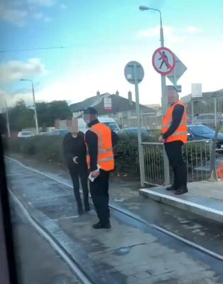 A sceengrab showing the incident involving two Transdev Luas ticket inspectors and a passenger at the Bluebell stop