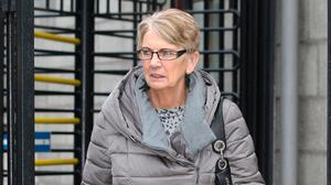 Maureen Curran, Tallaght, Dublin leaving the High Court in Dublin on opening day of her  personal injuries action for damages. (Pic: CourtPix.)