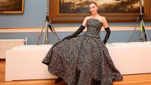 Sarah Morrissey wears a 100pc tweed fitted bodice and matching circular skirt by Peter O'Brien at Showcase Ireland. Photo: Sasko Lazarov/Photocall ireland