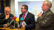 Asst. Commissioner John O'Driscoll, Special Crime Operations, Det. Supt. Tony Howard pictured with Det. Chief Supt. Jim McGowan during the Garda Press Briefing at The Garda National Drugs and Organised Crime Unit, Dublin Castle. Photo: Colin O'Riordan